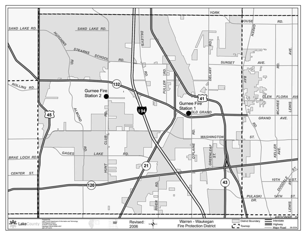 Warren-Waukegan Fire District map